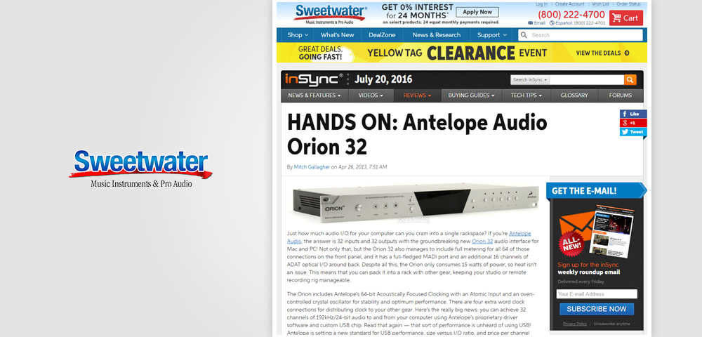 sweetwater hands on orion32